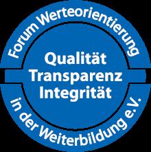 """Siegel """"Qualität – Transparenz – Integrität"""", Forum Werteorientierung in der Weiterbildung"""